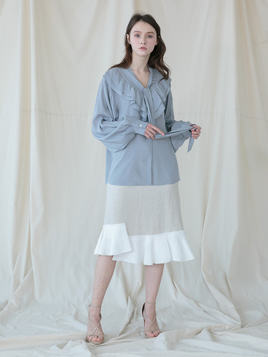 [Coett] Linen Tweed Skirt_BEIGE
