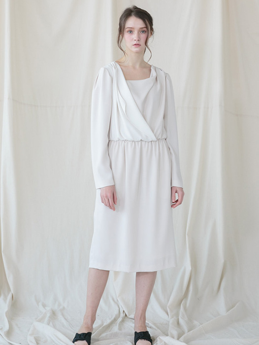 [Coett] Drapery Shirring Dress_CREAM