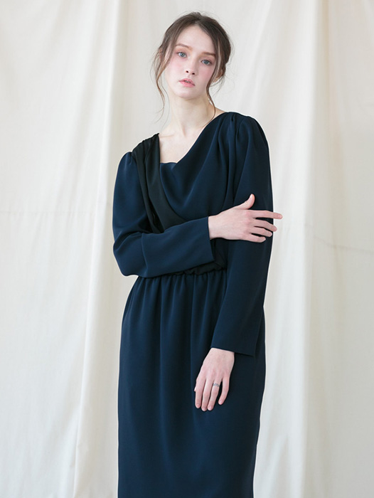 [Coett] Drapery Shirring Dress_NAVY