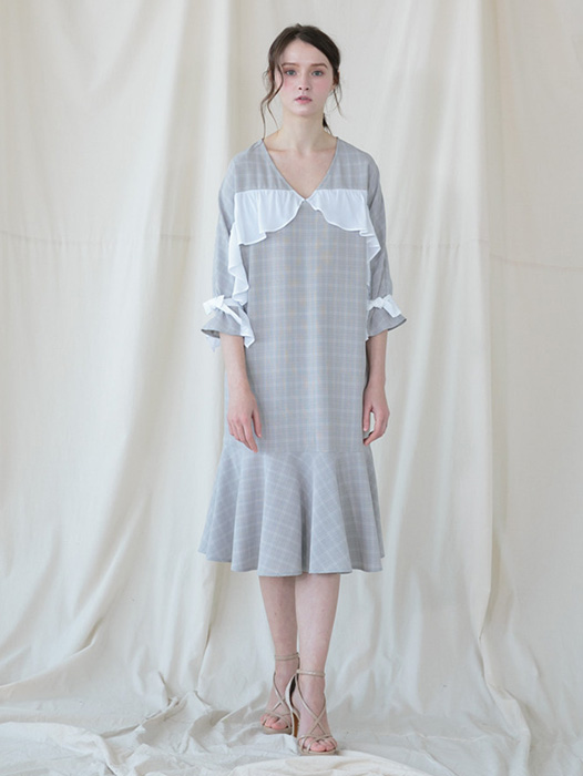 [Coett] White Ruffle Check dress_GREY