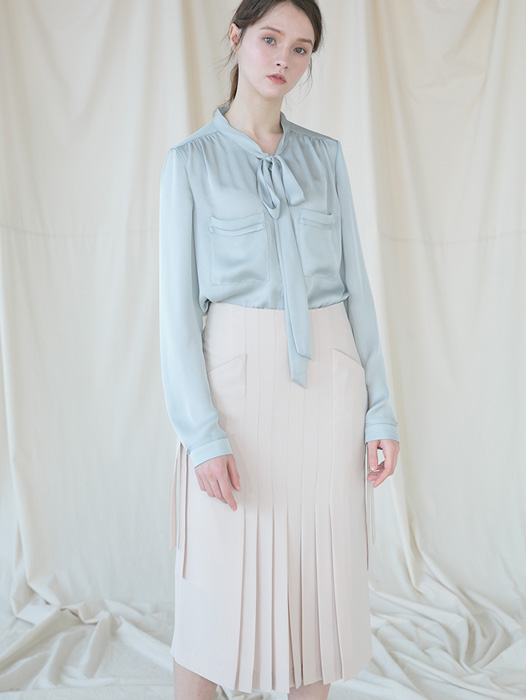 [Coett] Pleats Tie Skirt_BEIGE