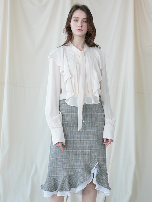 [Coett] Linen Check Skirt