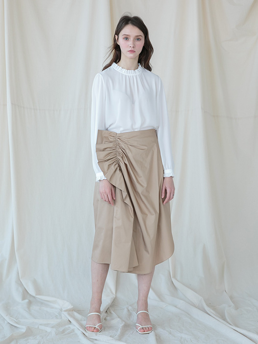 [Coett] Ruffle Shirring Skirt_BEIGE