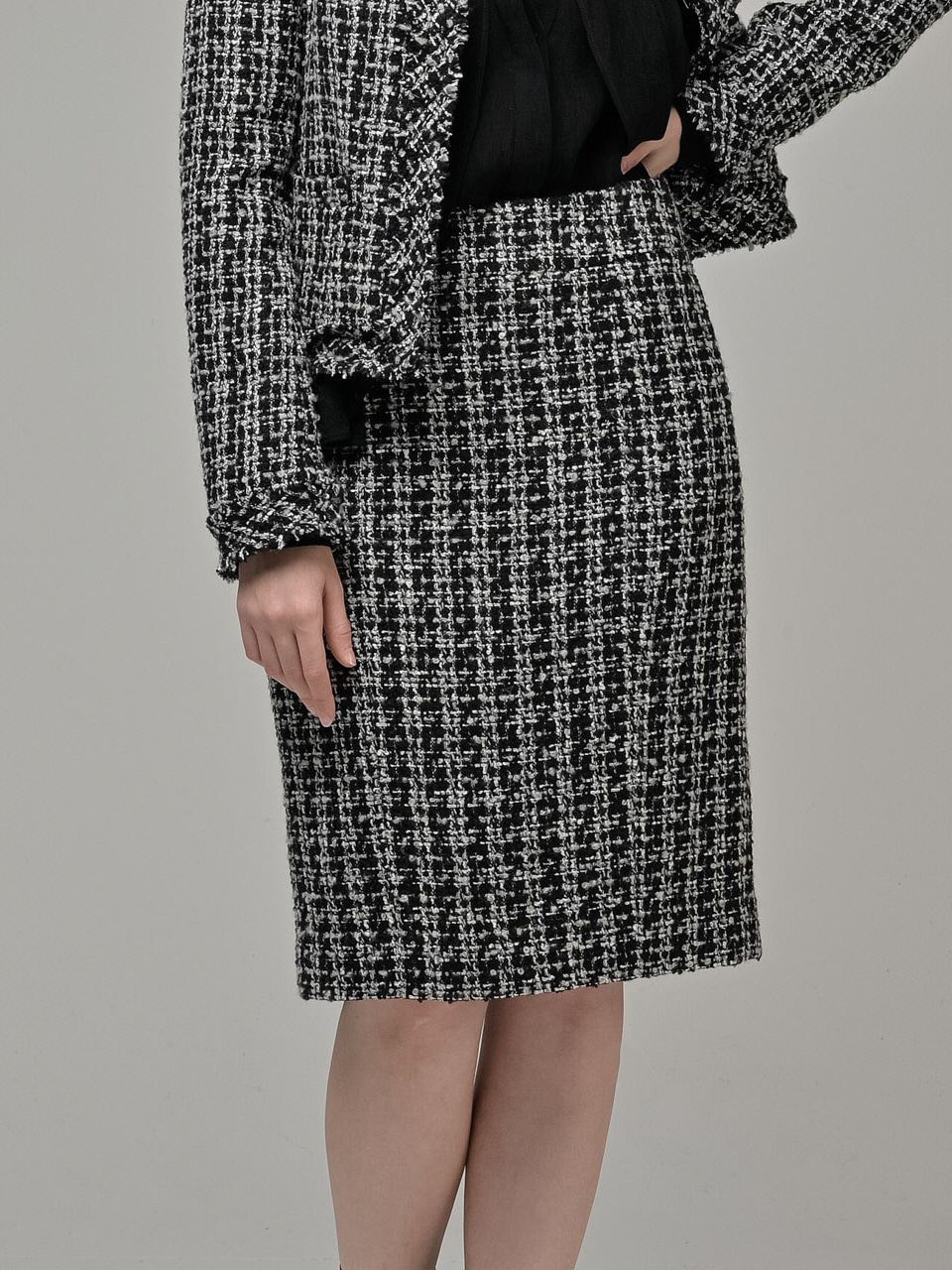 [Coett] Tweed Skirt_BLACK
