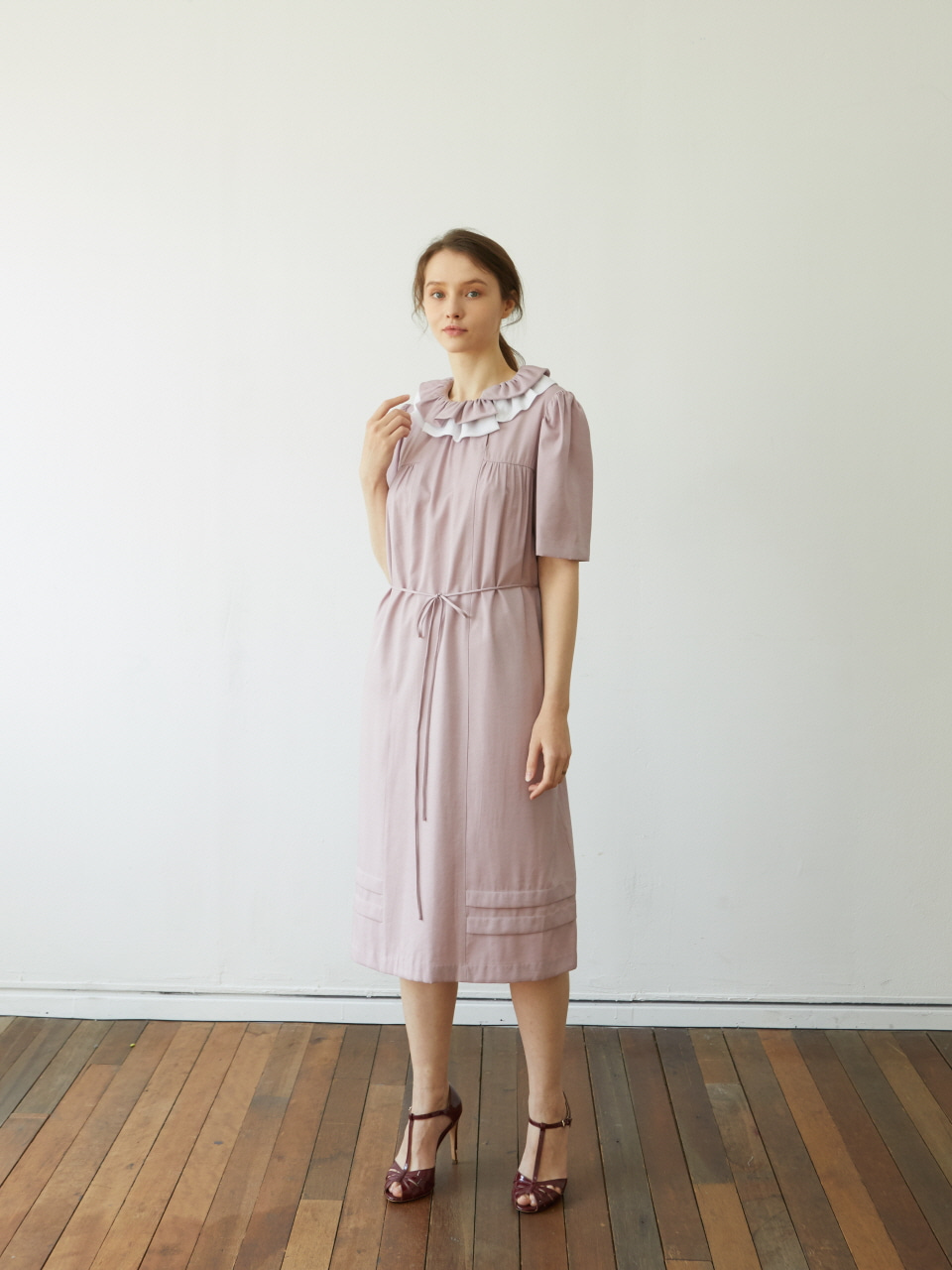 [Coett] Shirring Collar Dress